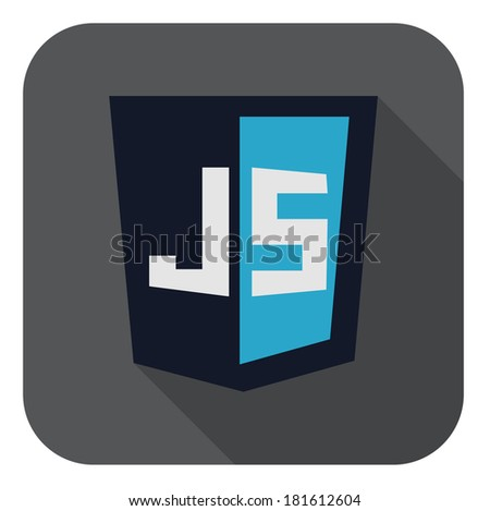 raster illustration of dark blue shield with javascript line on the screen, isolated web site development icon on white background - stock photo