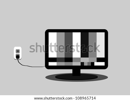 raster illustration of flat screen television with test pattern - stock photo