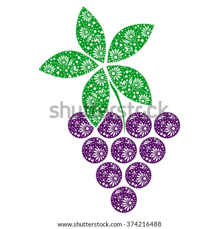 Raster illustration of fruit. Decorative ornamental blue grape with leaves isolated on the white backdrop. - stock photo