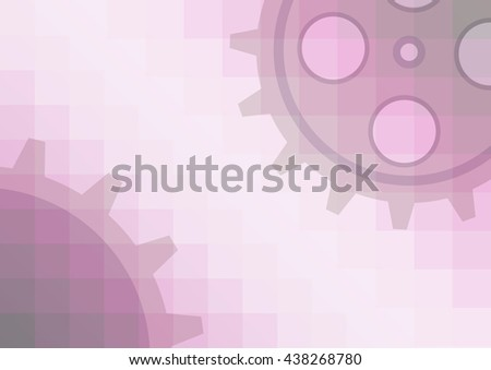 Raster illustration of gear wheel abstract background. Pink transparent banner with clockwork.  - stock photo