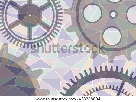 Raster illustration of gear wheel abstract background. Transparent banner with clockwork. Poligonal design.   - stock photo