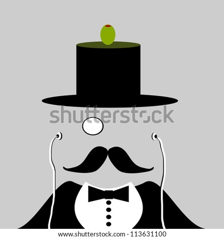 raster illustration of gentleman balancing olive on top hat and listening to earphones - stock photo