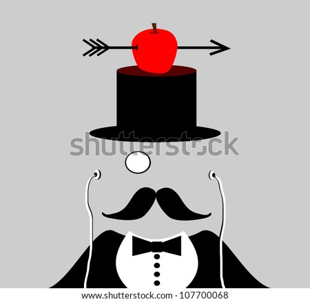 raster illustration of gentleman with apple sitting on top hat wearing a monocle - stock photo