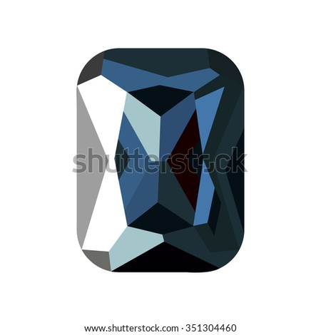 Raster illustration of green stone, sapphire isolated over white background.