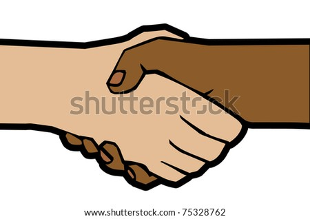 raster illustration of handshake of white and black hands - stock photo