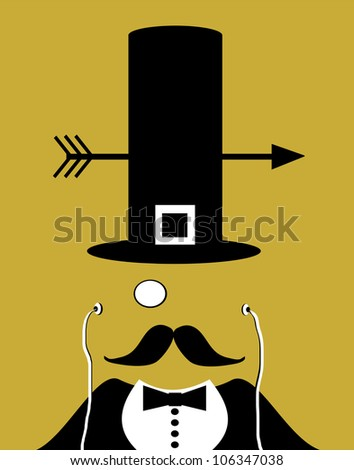 raster illustration of man with monocle and pilgrim hat - stock photo