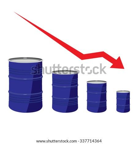 raster illustration of oil barrel chart graph with red arrow pointing down. Oil and diesel price chart - stock photo