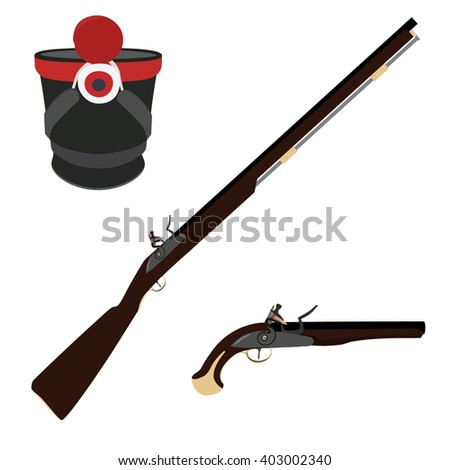 Raster illustration of old fashioned rifles, military hat  and vintage musket gun. Muskets or flintlock gun. Infantry shako - stock photo