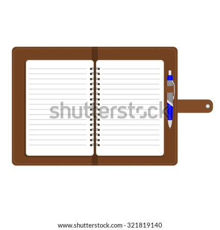 raster illustration of personal organizer, diary or notebook. Opened organizer in brown leather cover  with pen. Notebook with spiral and blank lined paper - stock photo