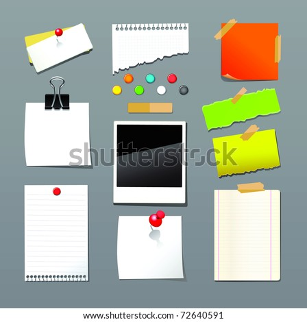 Raster illustration of push pin collection with set note papers. - stock photo