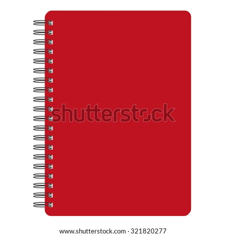 raster illustration of red blank empty spiral notepad, notebook. Closed notebook. Red notebook cover