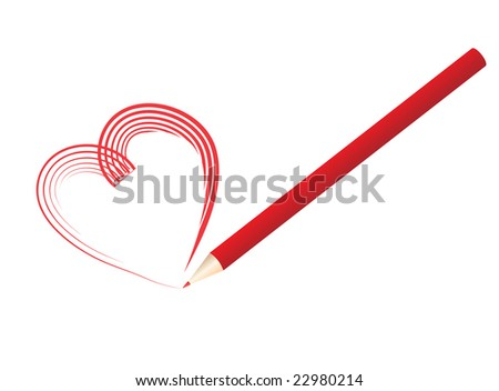 Raster illustration of red pencil drawing a heart shape