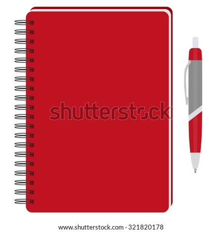 raster illustration of red spiral notepad, diary, notebook or personal organizer with ball pen. Closed notebook. Red notebook cover - stock photo