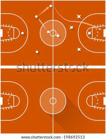 Raster illustration of strategy of a basketball game. Two flat illustration of red game tactics for basketball with white marking and points.