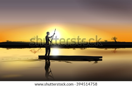 Raster Illustration of Sunset on African River Delta With Man in The Boat - stock photo
