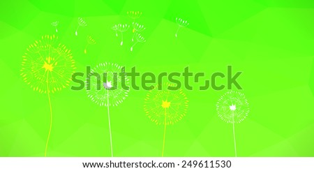 Raster illustration of two dandelions on a wind loses the integrity, green polygonal background. Booklet template  - stock photo