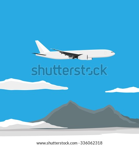 raster illustration of white airplane flying in the blue sky with clouds. Mountain landscape.  - stock photo