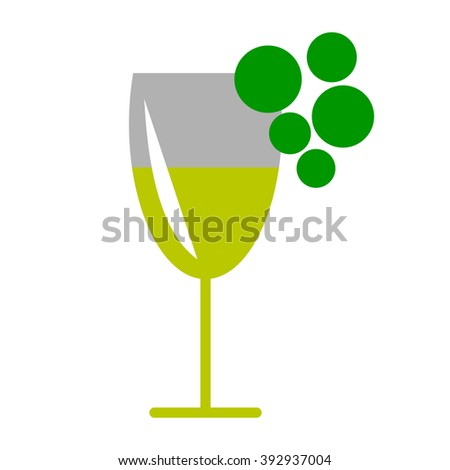 Raster illustration of wineglass and grape, isolated on the white background. Series of Food and Drink Object, Icons and Illustrations.