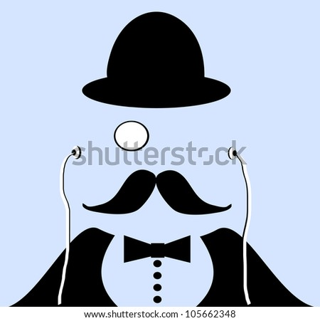 raster illustration of with monocle and bowler hat - stock photo