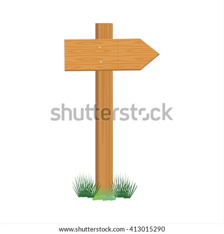 Raster illustration of wooden sign post. Empty direction post - stock photo