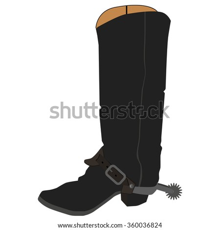 Raster illustration old cowboy boots with spur. Cowboy shoe. Western traditional  footwear. - stock photo