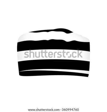 Raster illustration prisoner black and white striped hat or cap - stock photo