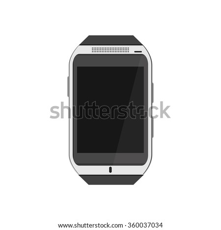 Raster illustration realistic white smartwatch. Wearable tehnology. Smartwatch flat icon