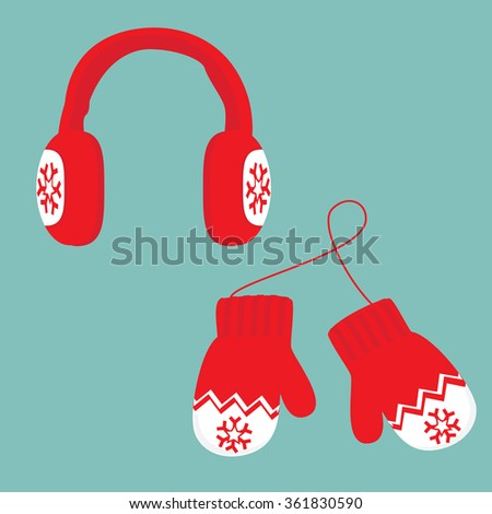 Raster illustration red and white ear muffs and pair of knitted winter mittens on blue background. Christmas greeting card with mittens - stock photo