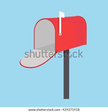 Raster illustration red empty mail box with white flag  on blue background. Mailbox icon flat design