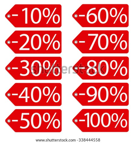 raster illustration red sales tags with percentage from 10 to 100. Price stickers. Sale labes - stock photo