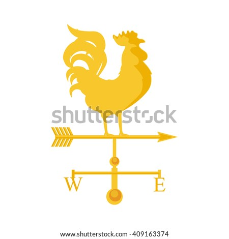 Raster illustration rooster weather vane. Golden rooster, cock. Weather vane symbol, icon - stock photo