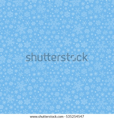 Raster illustration. Seamless doodle  blue pattern with snowflakes.