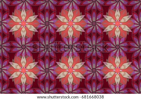 Raster illustration. Seamless flower pattern can be used for wallpaper. Flowers on colorful background.