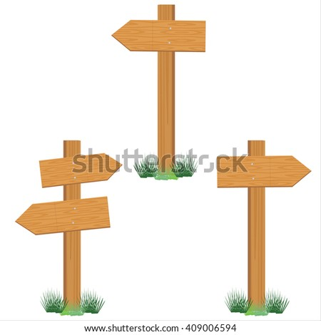 Raster illustration set of wooden sign post. Empty direction post