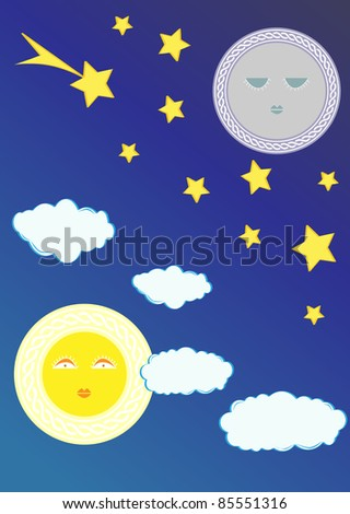 Raster illustration the sun against the day sky - stock photo