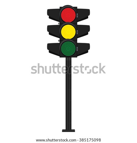 Raster illustration traffic signs. Traffic signal. Traffic light. Green, yellow and red - stock photo