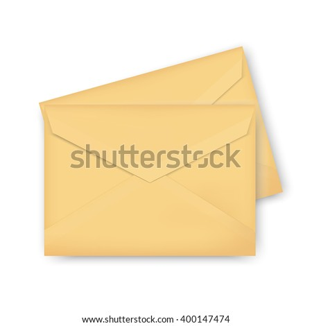 Raster illustration two brown, golden envelope isolated on white background. Realistic mockup envelope template, design.