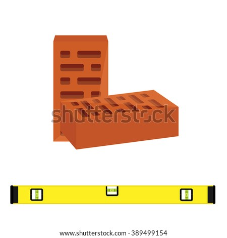 Raster illustration two red brick block for building and level construction for measuring. Masonry equipment - stock photo
