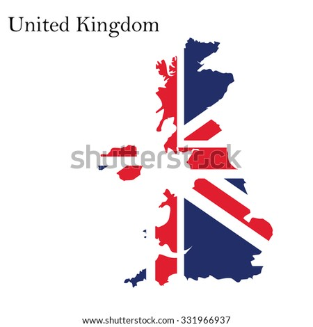 raster illustration uk map with flag. England map. United Kingdom of Great Britain. Uk map counties