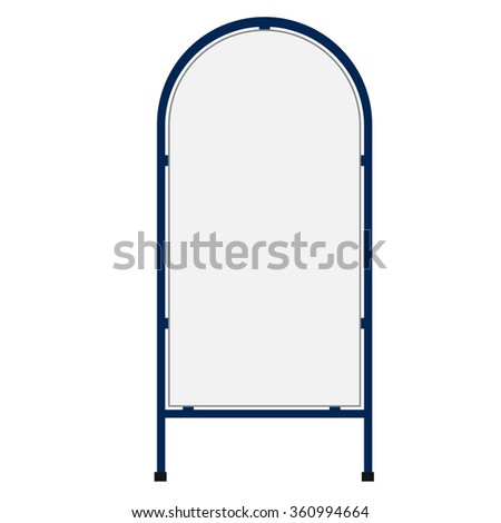 Raster illustration white blank sandwich board. Advertising stand. Mobility signboard - stock photo