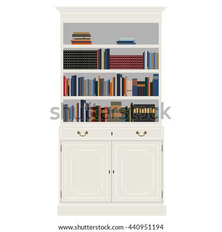 Raster Illustration White Vintage Cabinet With Books  Bibliography,  Encyclopedia And Handbooks. Retro Interior