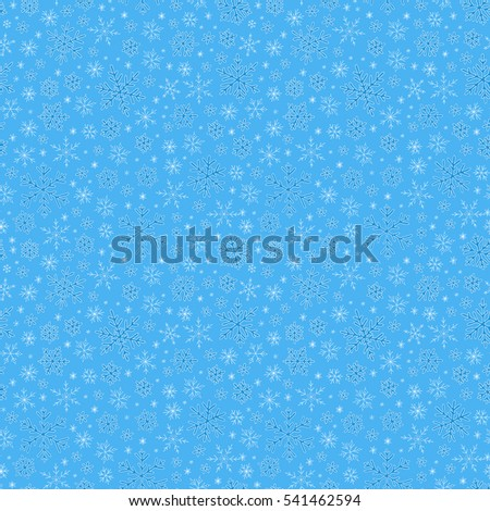 Raster illustration. Winter doodles hand drawn snowflakes seamless pattern. Cute, simple  snowflakes for postcard and poster graphic design for textile, wrapping paper, hand drawn style   backgrounds.