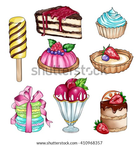 Raster illustration with different sweet food - clipart collection