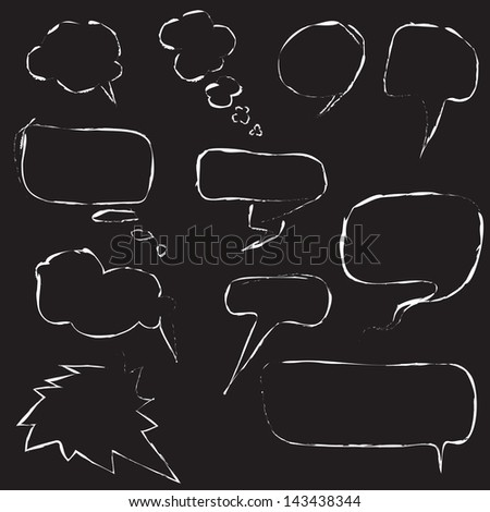 raster illustration with speech bubbles for your design - stock photo