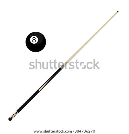 Raster illustration wooden billiard cue and eight black pool ball isolated on white background. Pool stick and 8 ball - stock photo