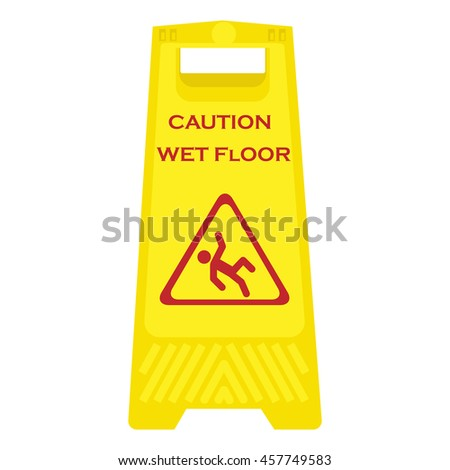 raster illustration yellow sign caution wet floor isolated on white background. Cleaning in progress