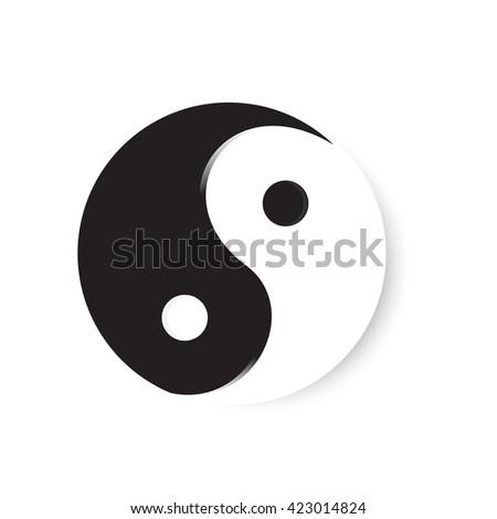 Raster illustration yin yang symbol of harmony and balance. Yin yang icon - stock photo