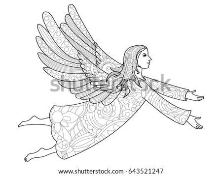 Raster illustration zentangl, New Year angel in the flowers. Coloring Book, anti-stress for adults. Black and white.