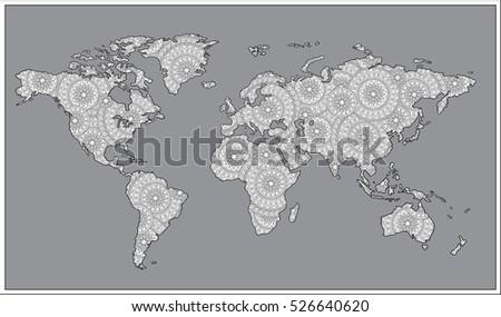 Raster illustration zentangle style black white stock illustration zentangle style black and white doodle graphic illustration of map of world gumiabroncs Images
