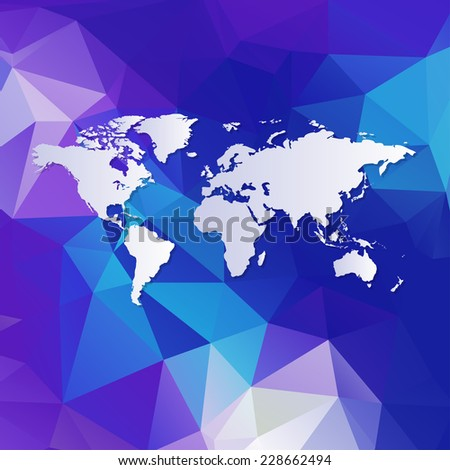 Raster image of  Polygonal World Map background - stock photo